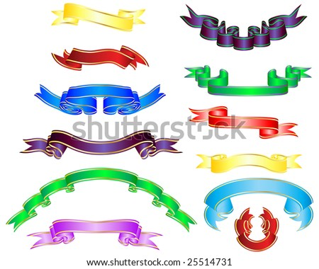 Set of different multicolor striped vector ribbons - stock vector