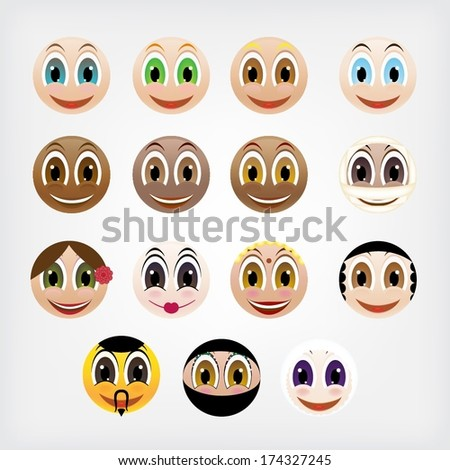 Set of different nationalities of smiling faces