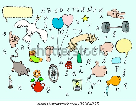 set of different objects and letters - stock vector
