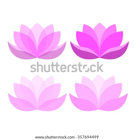 Set of  different  of lotus flower - stock vector