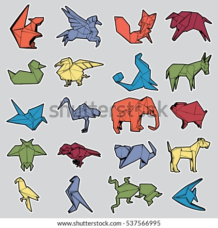 Set of Different Origami Animal Stickers. Hand Drawn Illustration.