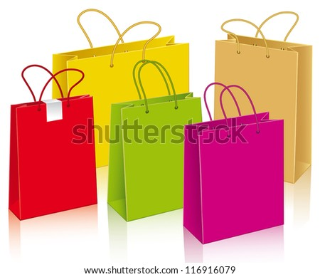 Set of different paper bags - stock vector