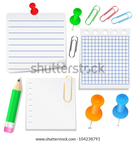 Set of different paper, push pins and clips, vector eps10 illustration - stock vector
