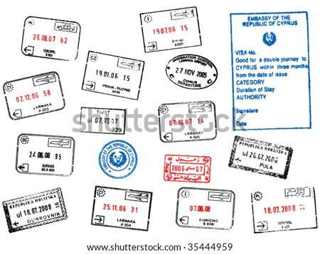 set of different passport visa stamps vector illustration