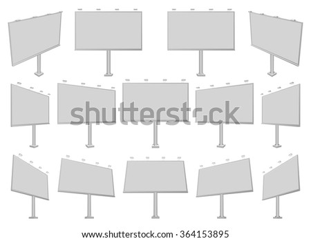 Set of different perspectives advertising construction for outdoor advertising mid billboard. Vector billboard for your design. - stock vector