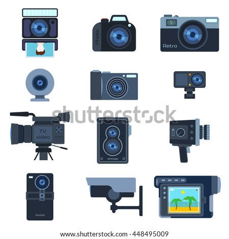 Set of different photo and video cameras. Different camera set photography isolated symbol photograph digital equipment. Retro technology camera set vintage element sign film collection. - stock vector