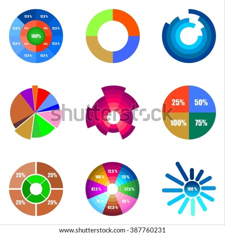 Set of different pie charts of different shapes and colors in a row side by side and below them with numbers and percentages on a white background - stock vector
