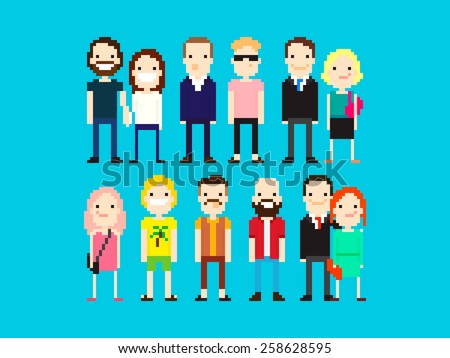 Set of different pixel art characters - stock vector