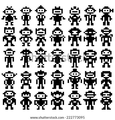 Set Of Different Pixel Robots On White Background