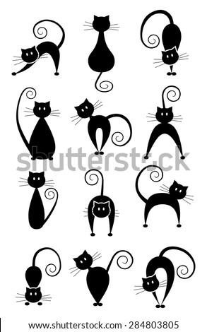 Set of different pose black cats. Black cat silhouette collection. Simple graphic design, vector art image illustration, isolated on white background, eps10 - stock vector