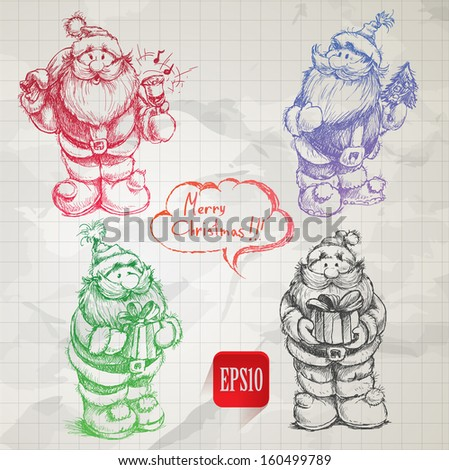 Set of different poses of hand drawn Santa Claus colorful sketches - stock vector