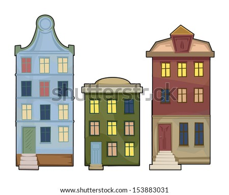 Cartoonstyle Vector Illustration Brick Apartment Building Stock Vector 526484