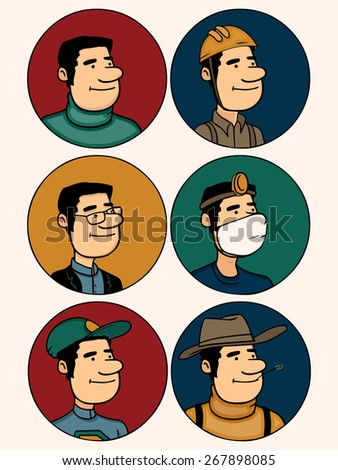 Set of  different professions men in colorful circles. - stock vector