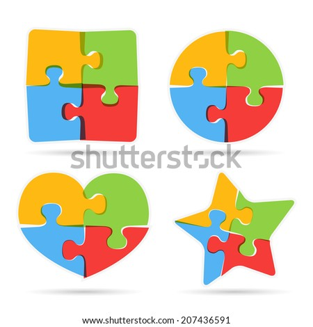Set of different puzzle objects, vector eps10 illustration