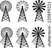 Set of different radio tower with waves - stock photo