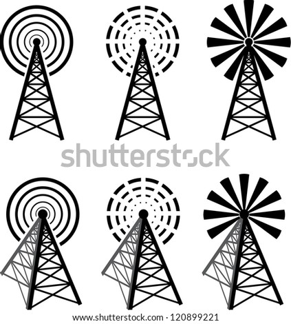 Set of different radio tower with waves - stock vector