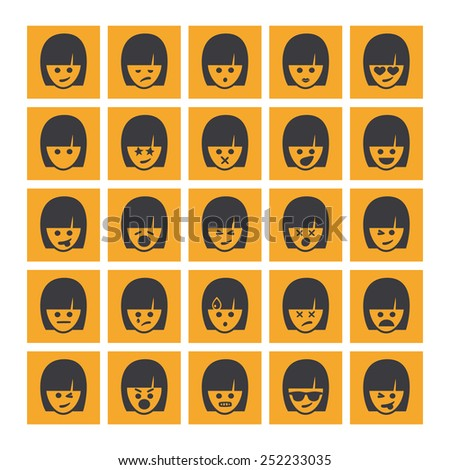 Set of different rectangular woman emoticons vector. Emoji icons representing lots of reactions, personalities and emotions - stock vector