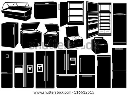 Set of different refrigerators - stock vector