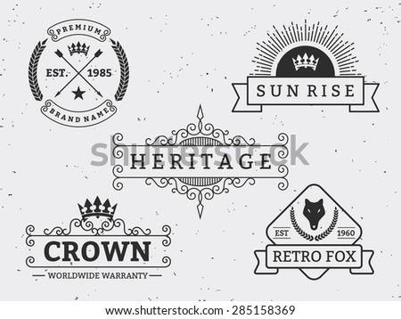 Set of different retro badge design. For logo, label, emblem, banner, sticker, Insignia || Vintage Decorative Flourishes Calligraphic  Line Art - stock vector