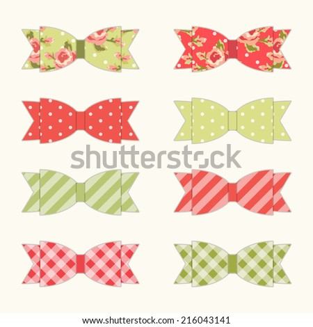 Set of 8 different retro fabric bows in shabby chic style for your decoration - stock vector