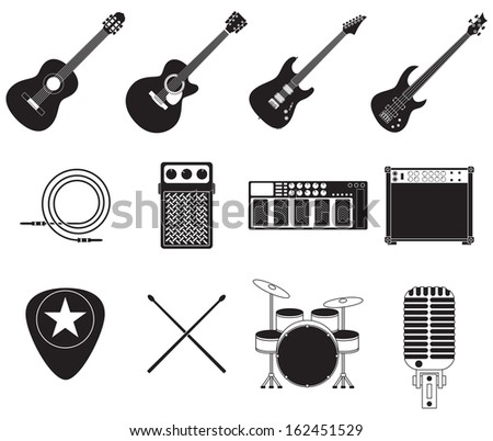 Set of different rock music equipment. - stock vector
