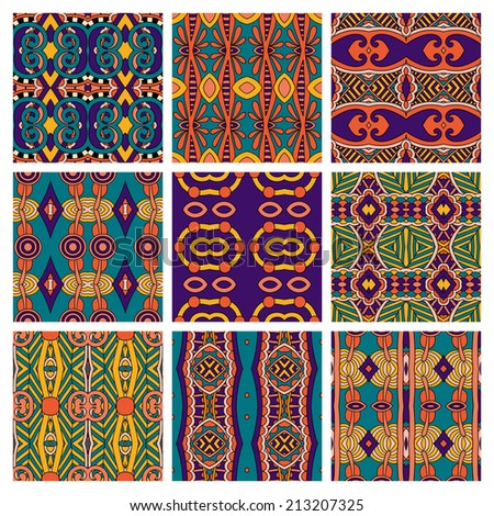 set of different seamless colored vintage geometric pattern, texture for wallpaper, web page background, fabric and wrapping paper design - stock vector