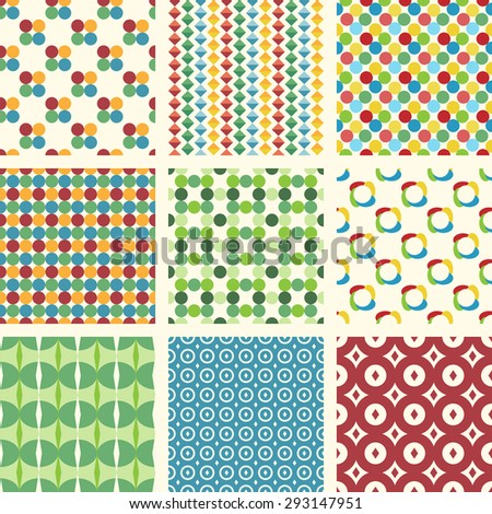 Set of 10 different seamless patterns. Can be used for wallpapers, pattern fills, web backgrounds, etc. EPS 10 vector illustration, no transparency