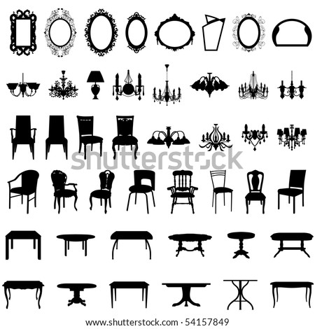 Set of Different Shape Furniture Silhouettes.  Elegant Royal Baroque Style and Modern Designs of Mirrors, Chairs, Armchairs, Scones and Luster. High Detail and Very Smooth. Vector illustration. - stock vector