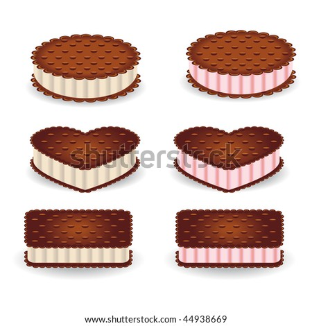 Set of different shapes of cookies with vanilla and strawberry cream - stock vector
