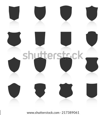 Set of different shield shapes icons with reflection. Vector illustration - stock vector