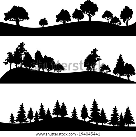 set of different silhouettes of landscape with trees, vector illustration - stock vector
