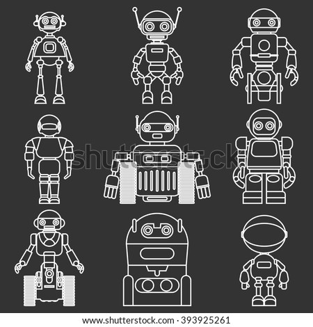 Set of different silhouettes robots flat linear vector icons isolated on black background. Vector illustration. - stock vector