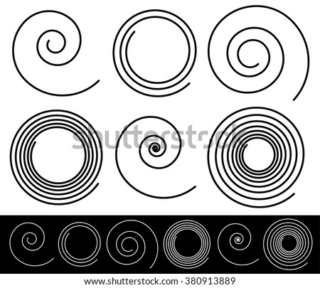 Set of different spirals with stroke profile - stock vector