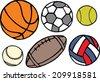 Set of different sport balls. Vector illustration - stock