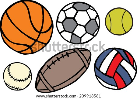 Set of different sport balls. Vector illustration - stock vector