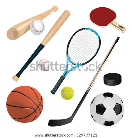 set of different sports equipment - stock vector
