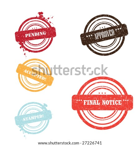 Set of different stamps and different colors isolated on white - stock vector