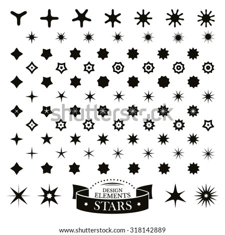 Set of different stars vector illustration - stock vector