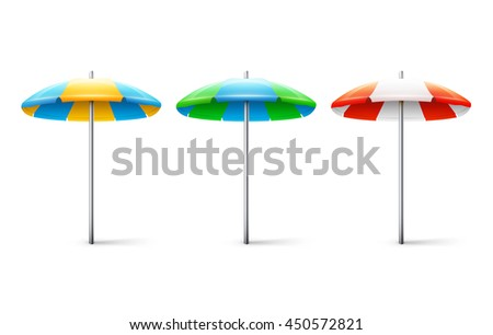 Set of different striped beach umbrellas isolated on white background. eps10 vector illustration