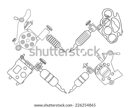Set of 4 different style realistic tattoo machines icons. Revolver tattoo machine, knuckle duster tattoo gun. Line-art illustration isolated on white - stock vector