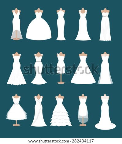Set Different Styles Wedding Dresses Fashion Stock Vector