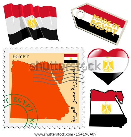 set of different symbols in national colours of Egypt - stock vector