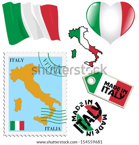 set of different symbols in national colours of Italy - stock vector