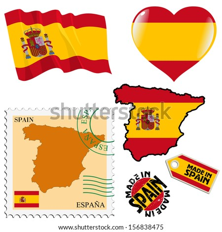 set of different symbols in national colours of Spain - stock vector