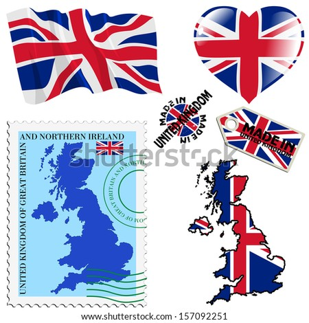 set of different symbols in national colours of United Kingdom - stock vector