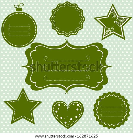 Set of different tags and frames for christmas and other occasions on polka dot background. - stock vector
