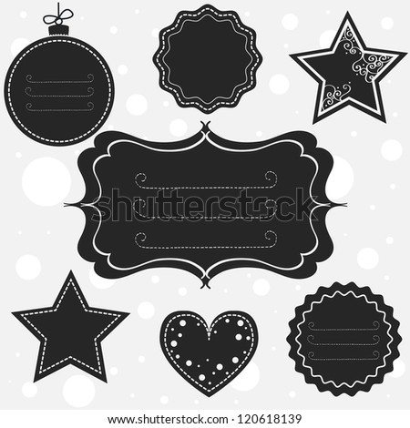 Set of different tags and frames for christmas and other occasions. Vector illustration. - stock vector