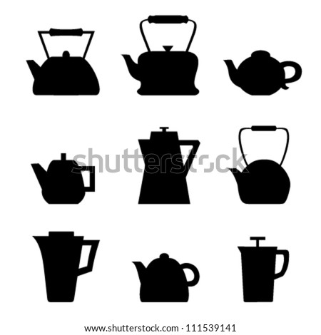 Set of different teapots. Kettles icons. Kitchen isolated pots - stock vector