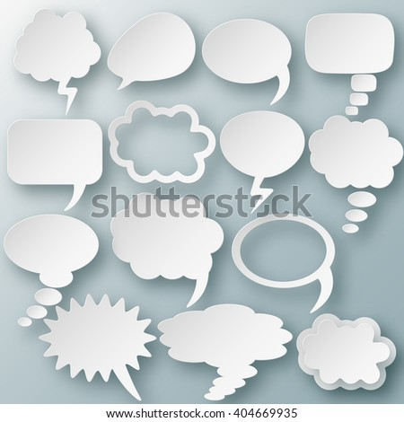 Set of different thought cloud fourteen white objects on gray-blue background for infographics - stock vector
