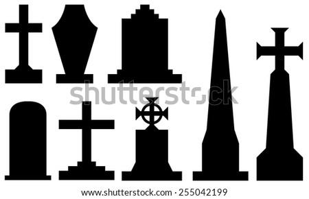 set of different tombstones - stock vector